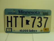 2002 MINNESOTA Explore 10,000 Lakes License Plate HTT 737