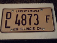 2004 ILLINOIS Land of Lincoln License Plate DL 4873 F