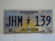 2012 MISSISSIPPI Lighthouse License Plate JHM 139