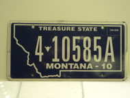 2010 MONTANA Treasure State License Plate 4 10585A