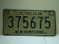 1987 NEW HAMPHIRE Live free or Die License Plate 375675