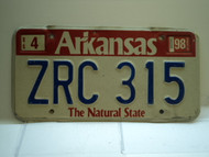 1998 ARKANSAS Natural State License Plate ZRC 315
