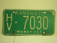 1970 KANSAS Midway USA License Plate RL 16823