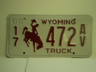 1988 WYOMING Truck License Plate 17 472 AV 1
