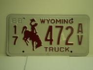1988 WYOMING Truck License Plate 17 472 AV 1