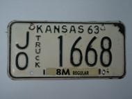 1963 KANSAS 8M Truck License Plate JO 1668