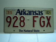 2002 ARKANSAS Natural State License Plate 928 FGX
