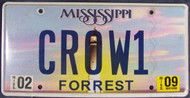 2009 Feb Mississippi Vanity CROW1 License Plate