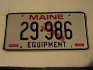 MAINE Equiptment Lobster License Plate 29 986