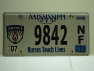 2011 MISSISSIPPI Nurses Touch Lives License Plate 9842 NF