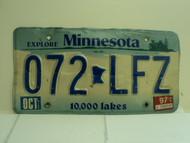 1997 MINNESOTA Explore 10,000 Lakes License Plate 072 LFZ