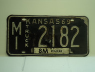 1969 KANSAS Truck 8M regular License Plate MI 2182