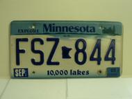 2003 MINNESOTA Explore 10,000 Lakes License Plate FSZ 844