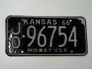1966 KANSAS Midway USA License Plate JO 96754