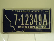 2010 MONTANA Treasure State License Plate 7 12349A