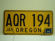 1983 OREGON License Plate AQR 194