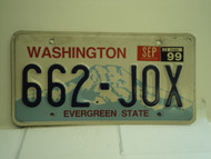 1999 WASHINGTON Evergreen State License Plate 662 JOX