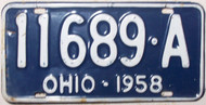 1958 Ohio 11689-A License Plate
