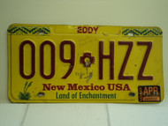 1999 NEW MEXICO Land of Enchantment License Plate 009 HZZ