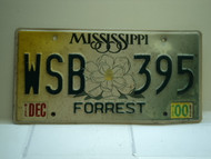 2000 MISSISSIPPI Magnolia License Plate WSB 395