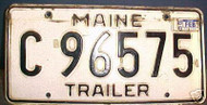 1988 Feb Maine C 96575 Trailer License Plate