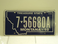 2010 MONTANA Treasure State License Plate 7 56680A