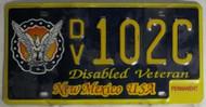 New Mexico Disable Veteran License Plate DV 102C