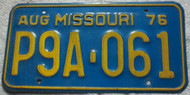 1976 Aug Missouri P9A-061 License Plate DMV Clear