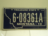 2010 MONTANA Treasure State License Plate 6 08361A