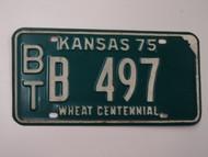 1975 KANSAS Wheat Centennial License Plate BT B 497