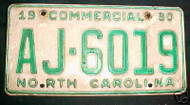 1990 North Carolina AJ-6019 Comm'l License Plate