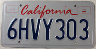 California 6HVY303 License Plate