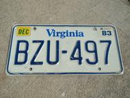 1983 VIRGINIA License Plate BZU 497