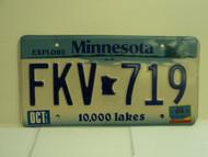 2003 MINNESOTA Explore 10,000 Lakes License Plate FKV 719