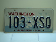 Washington Evergreen State License Plate 103 XSQ