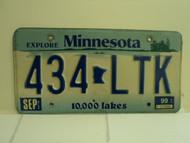 1999 MINNESOTA Explore 10,000 Lakes License Plate 434 LTK