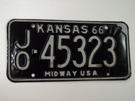 1966 KANSAS Midway USA License Plate JO 45323