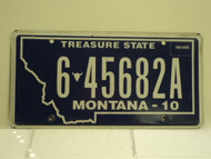 2010 MONTANA Treasure State License Plate 6 45682A