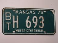 1975 KANSAS Wheat Centennial License Plate BT H 693