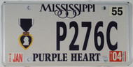 2004 Jan Mississippi Purple Heart License Plate
