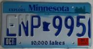 2001 Oct Minnesota ENP 995 License Plate