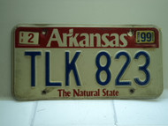 1999 ARKANSAS Natural State License Plate TLK 823