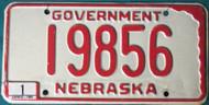 1980 Jan Nebraska Government License Plate 19856