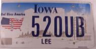 Lee Co Iowa License Plate 520UB