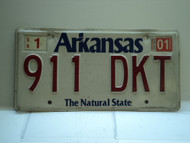 2001 ARKANSAS Natural State License Plate 911 DKT