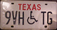 Texas 9VHTG Wheelchair Handicapped License Plate