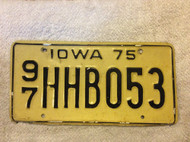 1975 Woodbury Co Iowa 97 HHB053 License Plate