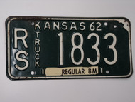 1962 KANSAS 8M Truck License Plate RS 1833