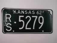 1962 KANSAS License Plate RS 5279