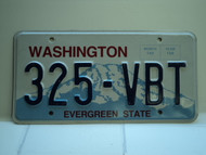 Washington Evergreen State License Plate 325 VBT
